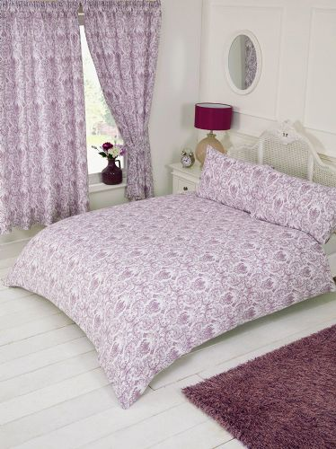 Plum Purple White Floral Paisley Damask Design Bedding Duvet Quilt Cover Set